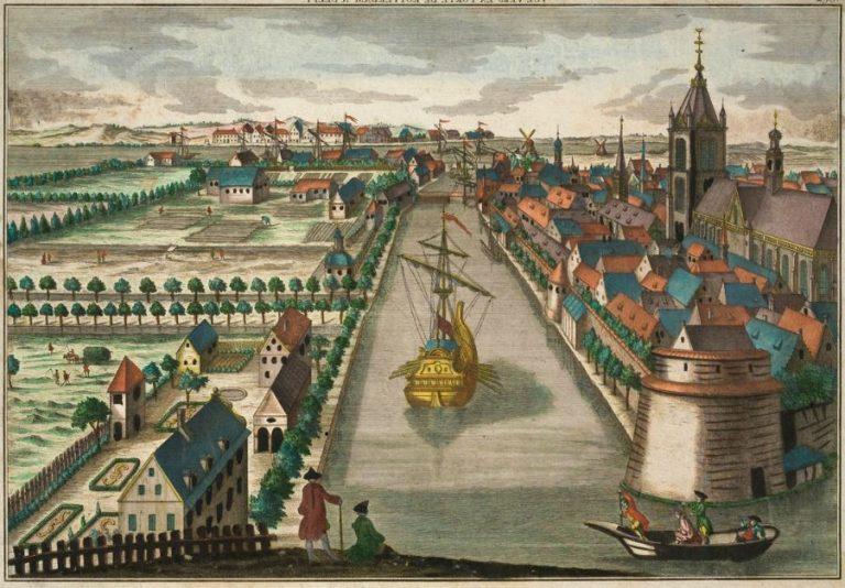 Vuë Vers la porte de Rotterdam a Delft